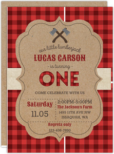 Red Checked Pattern Lumberjack Birthday Invitation