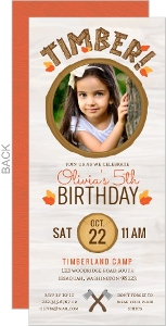 Wood Autumn Leaves Lumberjill Birthday Invitation
