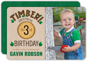 Little Timber Photo Birthday Invitation