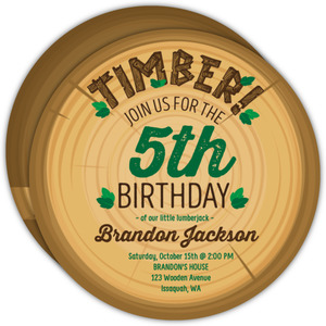 Timber Circle Wood Lumberjack Birthday Invitation