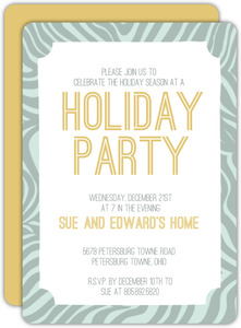 Modern Zebra Print Holiday Party Invitation