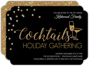 Faux Glitter Typography Holiday Party Invitation