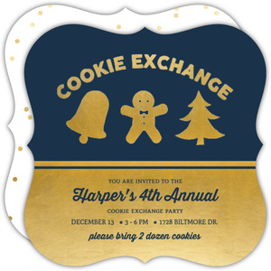 Golden Cookies Holiday Cookie Exchange Party Card