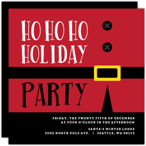 Red Ho Ho Holiday Party Invite