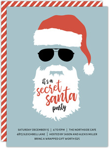 Striped Sunglasses Secret Santa Holiday Party Invitation