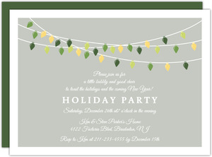 Green and Yellow Festive Hanging Holiday Lights Party Invite