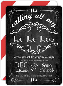 Chalkboard Flourish HoHoHo Holiday Party Invite