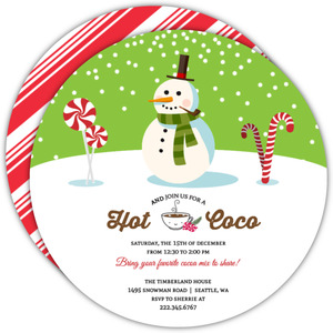Cheerful Snowman Candyy Cane Holiday Party Invite