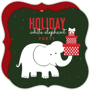 Cute Red, Green and White Elephant Gift Holiday Party Invite