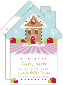 Bright and Colorful Gingerbread House Holiday Party Invite