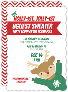 Cute Reindeer Ugliest Sweater Holiday Party Invite