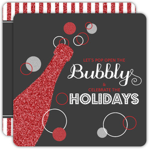 Bubbly Champagne Glitter Holiday Party Invite