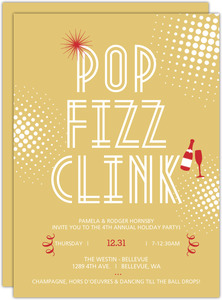 Pop Fizz Clink Celebration Gold and Red Holiday Party Invite