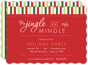 Classic Red and Green Jingle and Mingle Holiday Party Invite