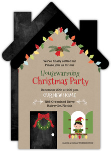 Festive Elf New Home Holiday Party Invitation