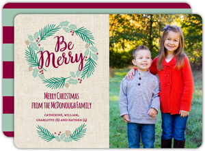 Cute Pine Wreath Be Merry Photo Christmas Card