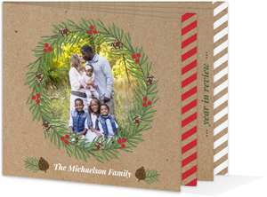 Rustic Pinecone and Berry Wreath Kraft Photo Christmas Card