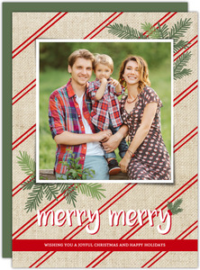 Festive Striped Burlap Christmas Photo Card