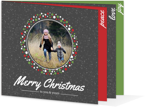 Festive Red White and Green Wreath Gray Christmas Photo Booklet