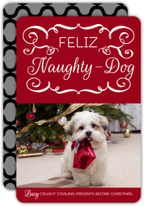 Pet Red and Black Feliz Naughty Dog Photo Christmas Card