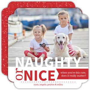 Pet Naughty or Nice Red and White Photo Christmas Card