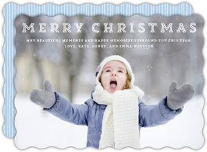 Simple Light Blue and White Typographic Photo Christmas Card