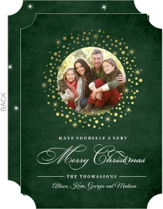 Dark Green and Gold Confetti Wreath Christmas Photo Card