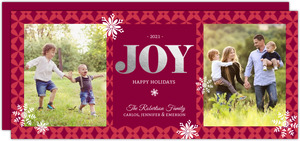 Joy Snowflakes Silver Foil Christmas Photo Card