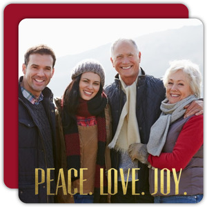 Simple Gold Foil Peace Love Joy Christmas Photo Card