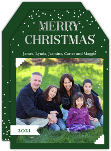 Silver Foil Merry Christmas Photo Card