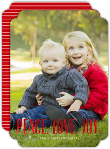 Simple Typography Peace Love Joy Red Foil Christmas Photo Card