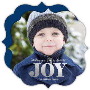 Simple Typographic Silver Foil Joy Christmas Photo Card