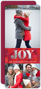 Collage Silver Foil Joy Christmas Photo Card