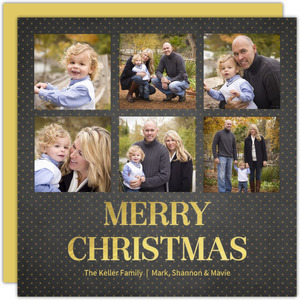Black and Gold Polka Dot Foil Photo Collage Christmas Card