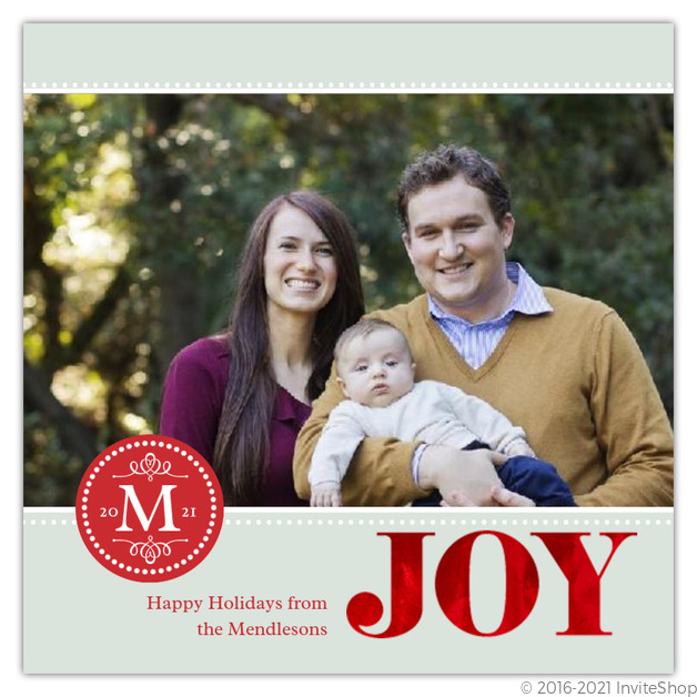 monogram photo christmas cards