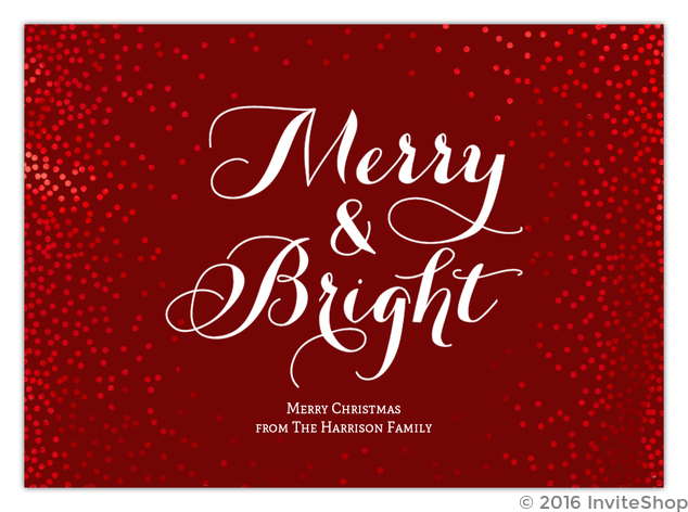 red foil beautiful confetti framed typographic christmas card - Foil Christmas Cards