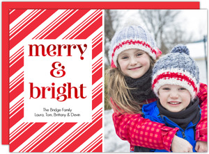 Merry and Bright Red Foil Candy Cane Striped Photo Christmas Card