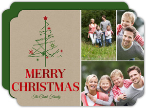 Simple Festive Tree Red Foil Merry Christmas Photo Card