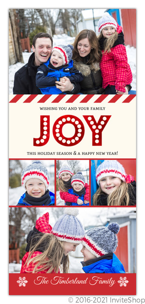 joy red foil family photo collage christmas card - Collage Christmas Cards