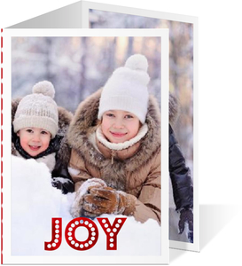 Red Foil Joy Polka Dot Christmas Photo Card