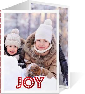 trifold christmas cards red foil joy polka dot christmas photo card - Tri Fold Christmas Cards