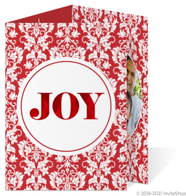 elegant floral damask red foil joy christmas trifold - Tri Fold Christmas Cards