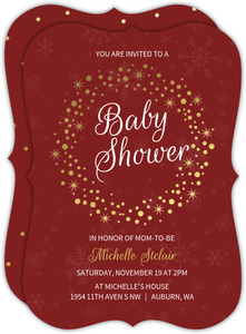 Shiny Wreath Gold Foil Baby Shower Invitation