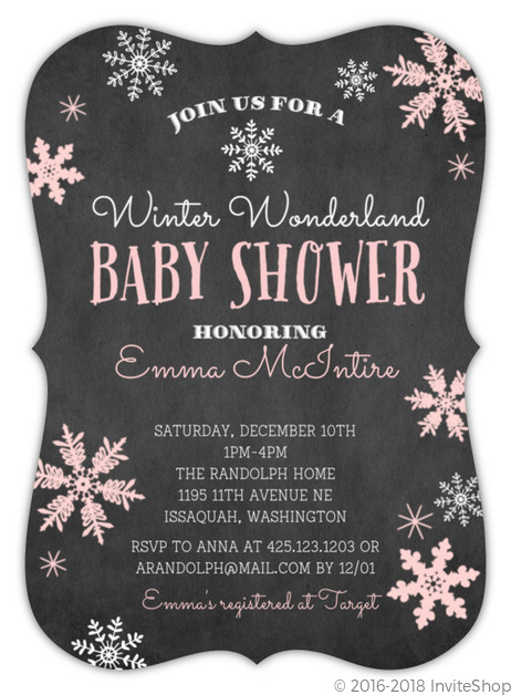Winter Wonderland Pink Snowflake Baby Shower Invitation