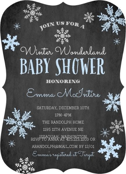 Winter Wonderland Blue Snowflake Baby Shower Invitation Boy Baby