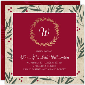 Gold Foil Monogram Wreath Berry Branches Birth Announcement