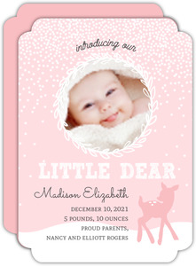 Pink Baby Deer Winter Birth Announcement