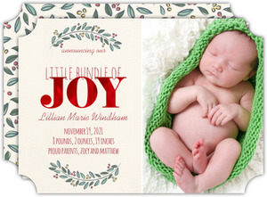 Bundle of Joy Red Foil Photo Birth Announcement