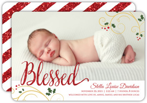 Blessed Holiday Photo Birth Announcement