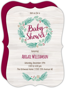 Rustic Pine Wreath Baby Shower Invitation
